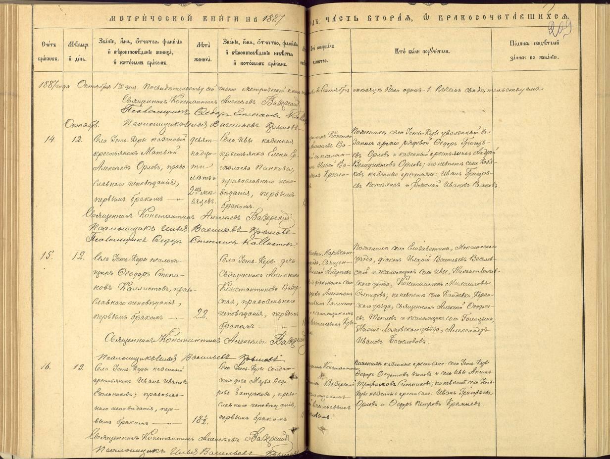 Метрическая запись о браке в 1887 году Федора Степанова Каллистова с Антониной Константиновой Вазерской